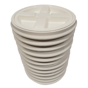 White plastic Gamma Seal Lid fits 2 Gallon Pails or Buckets
