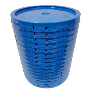 Chevron Blue round plastic tear tab lid with gasket