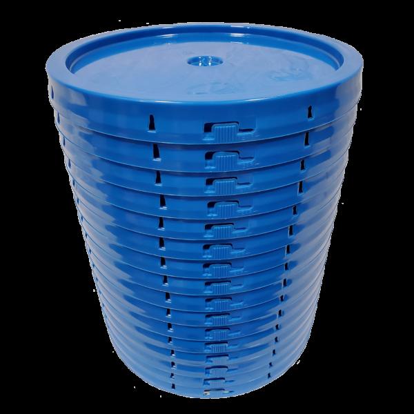 Chevron Blue round plastic tear tab lid with gasket