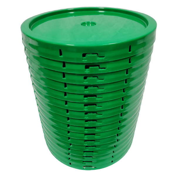 Green plastic lid with gasket and tear tab fits 3.5 gallon, 4.25 gallon, 5 gallon, and 5.25 gallon round pails