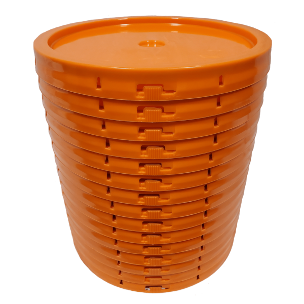 Orange plastic lid with gasket and tear tab fits 3.5 gallon, 4.25 gallon, 5 gallon, and 5.25 gallon round pailsand 5.25 Gal round pails