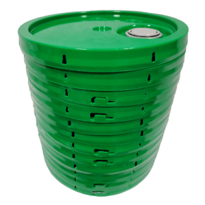 Green plastic tear tab lid with gasket and Rieke spout