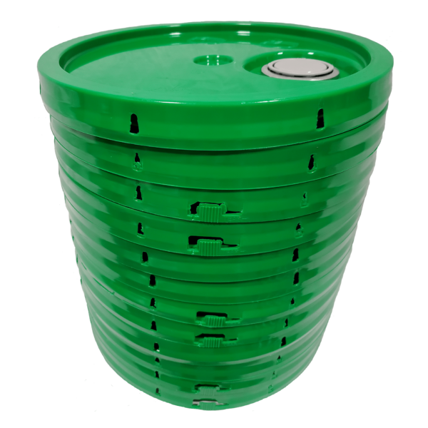 Green plastic lid with gasket, tear tab and Rieke spout fits 3.5 gallon, 4.25 gallon, 5 gallon, and 5.25 gallon round pails