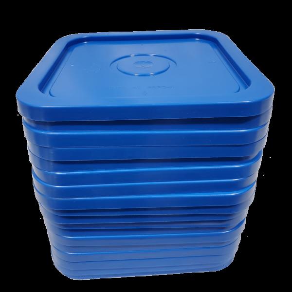 Blue 4 gallon square plastic lid