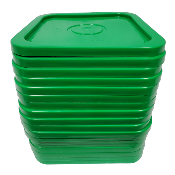Green easy on easy off snap tight lid. No gasket. Fits 4 gallon square buckets (Item: 4GB)
