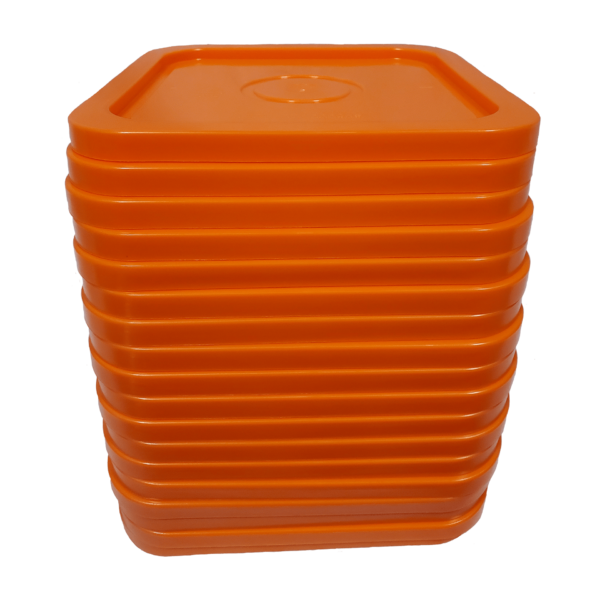 Orange easy on easy off snap tight lid. No gasket. Fits 4 gallon square buckets (Item: 4GB)