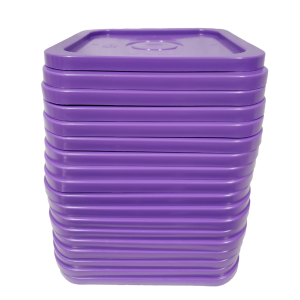 Purple easy on easy off snap tight lid. No gasket. Fits 4 gallon square buckets (Item: 4GB)