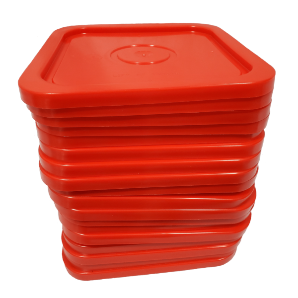 Red easy on easy off snap tight lid. No gasket. Fits 4 gallon square buckets (Item: 4GB)