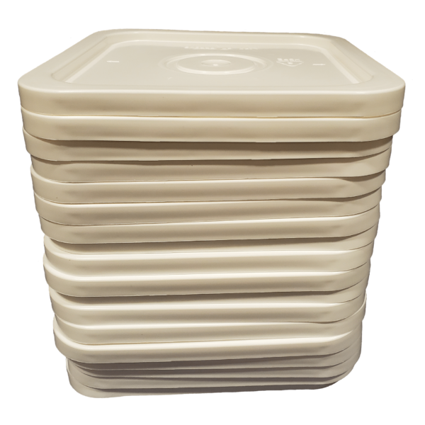 White easy on easy off snap tight lid. No gasket. Fits 4 gallon square buckets (Item: 4GB)