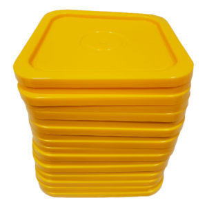 Yellow easy on easy off snap tight lid. No gasket. Fits 4 gallon square buckets (Item: 4GB)