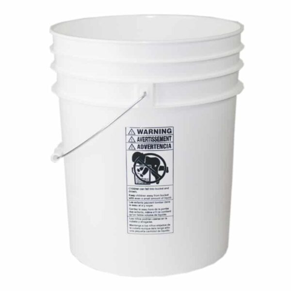 White plastic 5 gallon round bucket w/ wire bale handle with plastic roller grip