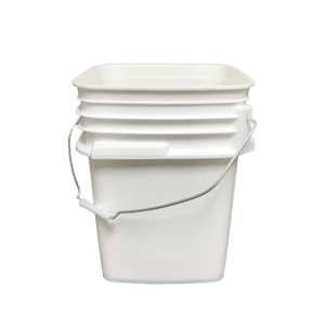 White plastic 5 gallon square bucket w/ wire bale handle with plastic roller grip