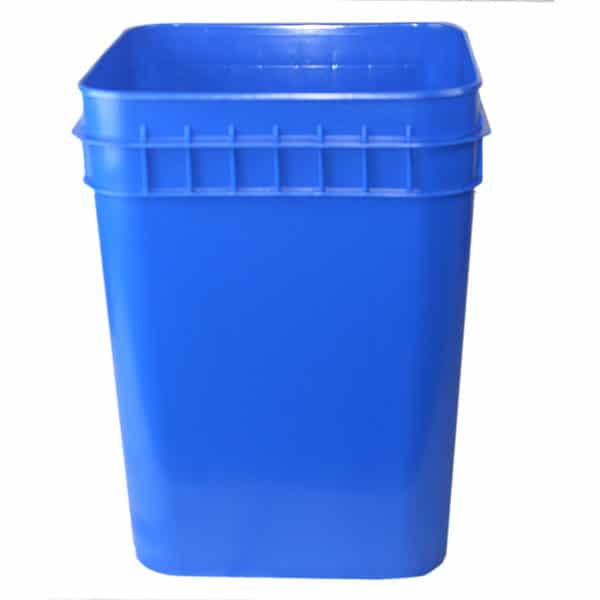 Blue plastic 4 gallon square bucket w/ wire bale handle with plastic roller grip