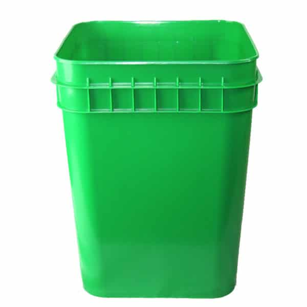 Green plastic 4 gallon square bucket w/ wire bale handle with plastic roller grip