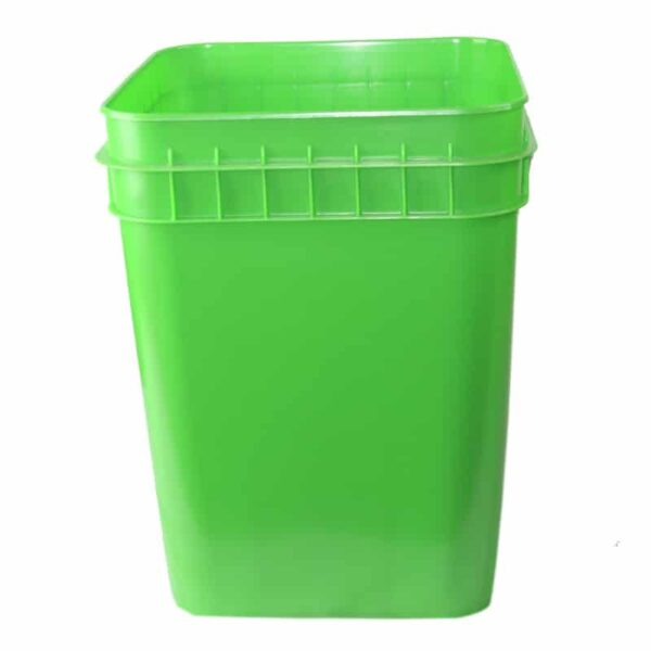 Lime Green plastic 4 gallon square bucket w/ wire bale handle with plastic roller grip