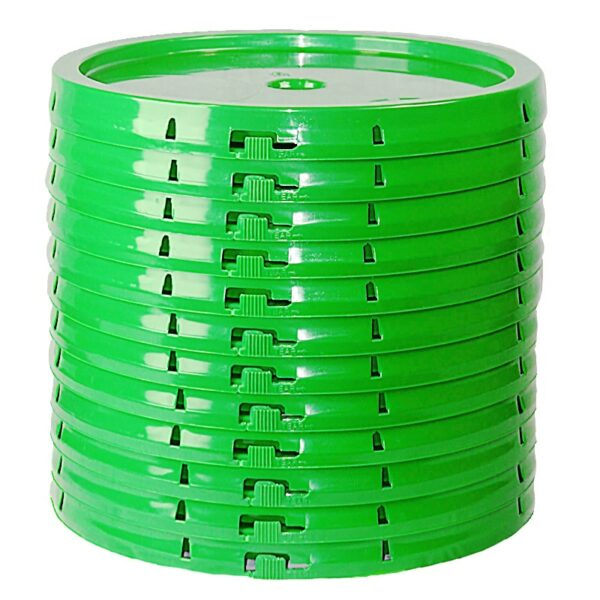 Lime Green lid side view of tear tab and gasketed lid fits 3.5 Gal, 4.25 Gal, 5 Gal, and 5.25 Gal pails