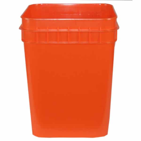 Orange plastic 4 gallon square bucket w/ wire bale handle with plastic roller grip