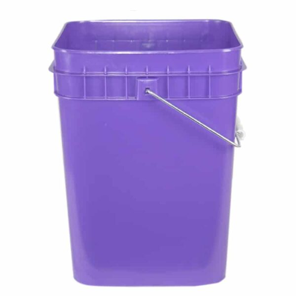 Purple plastic 4 gallon square bucket w/ wire bale handle with plastic roller grip
