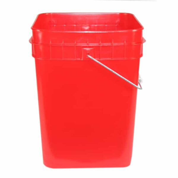 Red plastic 4 gallon square bucket w/ wire bale handle with plastic roller grip