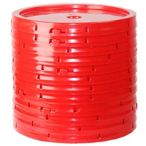 Red plastic lid with gasket and tear tab fits 3.5 gallon, 4.25 gallon, 5 gallon, and 5.25 gallon round pails