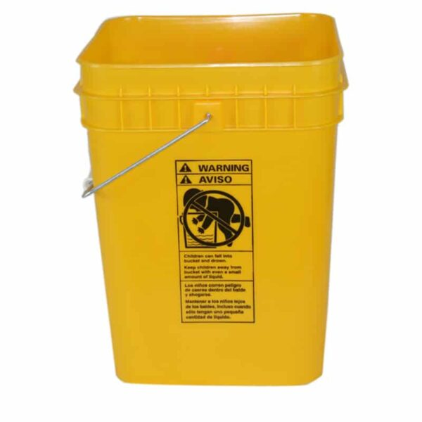 Yellow plastic 4 gallon square bucket w/ wire bale handle with plastic roller grip
