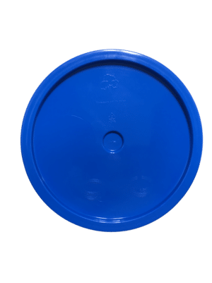Chevron Blue lid top side of tear tab and gasketed lid fits 3.5 Gal, 4.25 Gal, 5 Gal, and 5.25 Gal pails