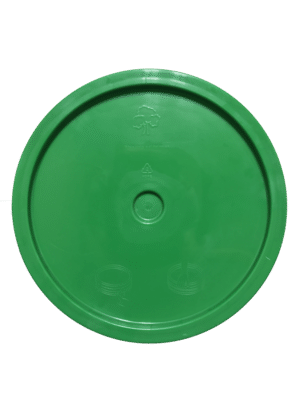 Green lid top side of tear tab and gasketed lid fits 3.5 Gal, 4.25 Gal, 5 Gal, and 5.25 Gal pails
