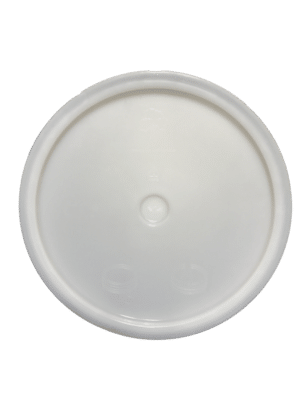 Natural lid top side of tear tab and gasketed lid fits 3.5 Gal, 4.25 Gal, 5 Gal, and 5.25 Gal pails