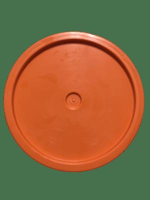 Orange lid top side of tear tab and gasketed lid fits 3.5 Gal, 4.25 Gal, 5 Gal, and 5.25 Gal pails