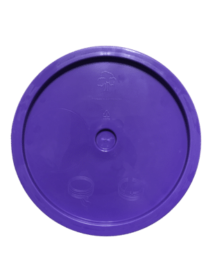 Purple lid top side of tear tab and gasketed lid fits 3.5 Gal, 4.25 Gal, 5 Gal, and 5.25 Gal pails