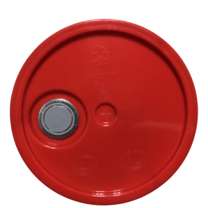 Red plastic lid top side of tear tab, gasketed with Rieke spout lid fits 3.5 Gal, 4.25 Gal, 5 Gal, and 5.25 Gal pails