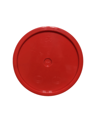 Red lid top side of tear tab and gasketed lid fits 3.5 Gal, 4.25 Gal, 5 Gal, and 5.25 Gal pails