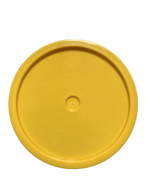 Yellow lid top side of tear tab and gasketed lid fits 3.5 Gal, 4.25 Gal, 5 Gal, and 5.25 Gal pails