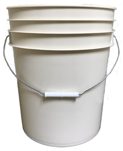 Beige plastic 5 gallon round bucket w/ wire bale handle with plastic roller grip
