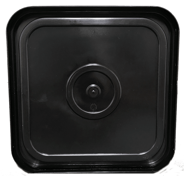 Black easy on easy off snap tight lid bottom side. No gasket. Fits 4 gallon square buckets (Item: 4GB)