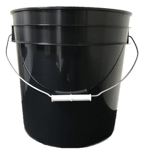 Black plastic 4.25 gallon round bucket w/ wire bale handle with plastic roller grip