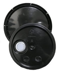 Black plastic lid with gasket, tear tab and Rieke spout fits 3.5 gallon, 4.25 gallon, 5 gallon, and 5.25 gallon round pails