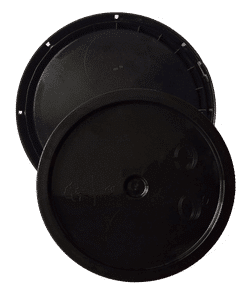 Black plastic lid with gasket and tear tab fits 3.5 gallon, 4.25 gallon, 5 gallon, and 5.25 gallon round pails