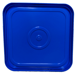 Blue easy on easy off snap tight lid bottom side. No gasket. Fits 4 gallon square buckets (Item: 4GB)