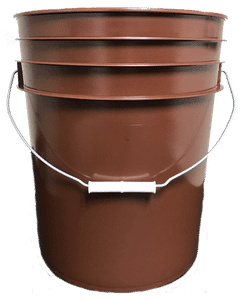 Brown plastic 5 gallon round bucket w/ wire bale handle with plastic roller grip
