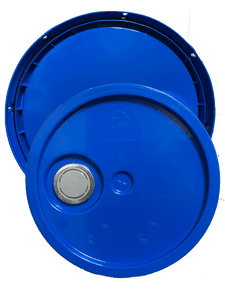 Chevron Blue plastic lid with gasket, tear tab and Rieke spout fits 3.5 gallon, 4.25 gallon, 5 gallon, and 5.25 gallon round pails