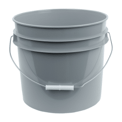 Gray plastic 3.5 gallon round bucket w/ wire bale handle with plastic roller grip