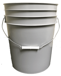 Gray plastic 5 gallon round bucket w/ wire bale handle with plastic roller grip