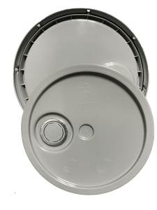 Gray plastic lid with gasket, tear tab and Rieke spout fits 3.5 gallon, 4.25 gallon, 5 gallon, and 5.25 gallon round pails
