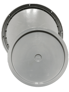 Gray plastic lid with gasket and tear tab fits 3.5 gallon, 4.25 gallon, 5 gallon, and 5.25 gallon round pails
