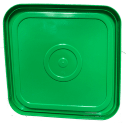 Green easy on easy off snap tight lid bottom side. No gasket. Fits 4 gallon square buckets (Item: 4GB)
