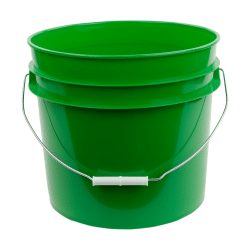 Green plastic 3.5 gallon round bucket w/ wire bale handle with plastic roller grip