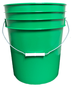 Green plastic 5 gallon round bucket w/ wire bale handle with plastic roller grip
