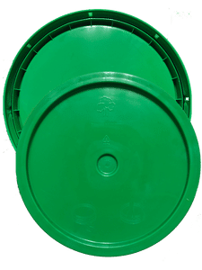 Green plastic lid bottom side of tear tab and gasketed lid fits 3.5 gallon, 4.25 gallon, 5 gallon, and 5.25 gallon round pails