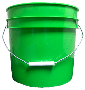 Lime Green plastic 3.5 gallon round bucket w/ wire bale handle with plastic roller grip